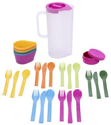 culinario Party und Camping-Set , mit Camping Geschirr, Karaffe mit 6 Schalen, 6 Besteck-Sets, 1 Dose, aus Kunststoff, 16 x 10 x 24 cm