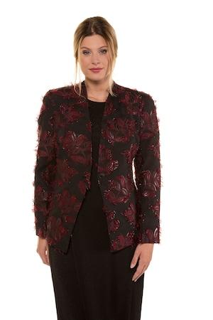 Große Größen Jacquard-Blazer Damen (Größe 50, schwarz) Blazer | Polyester/Metallische Fasern