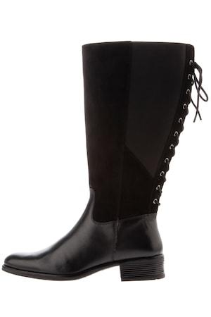 Große Größen Lederstiefel Damen (Größe 43, braunschwarz) Stiefel | Leder