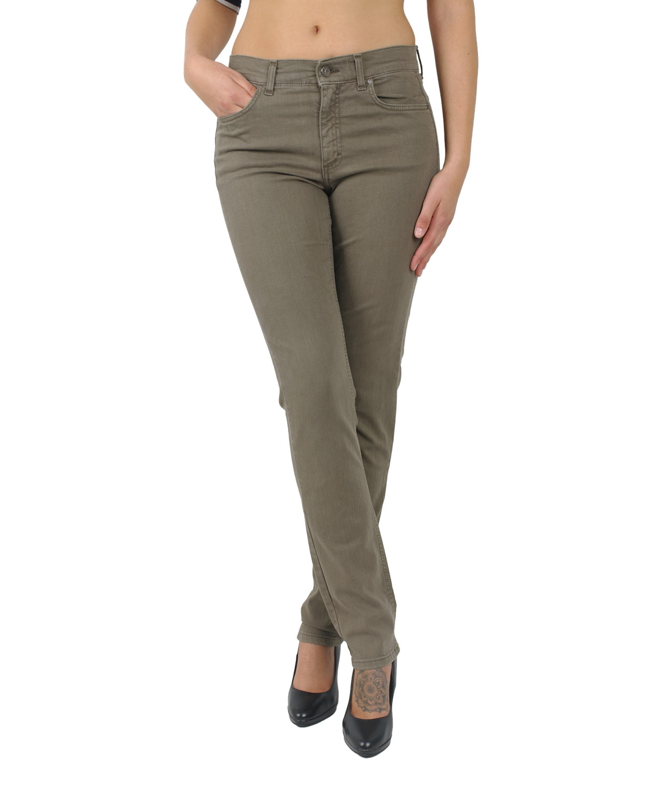 Angels Cici - Straight Jeans in hellem Khaki-D 44 / L 32