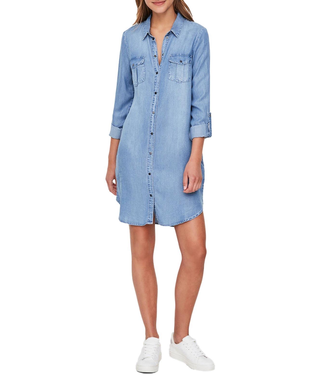 VERO MODA Silla - Shirt-Kleid - Light Blue Denim-M