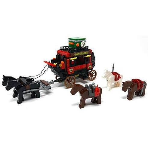 Bausteine Kutsche Western Postkutsche mit Pferde & Cowboys Minifiguren