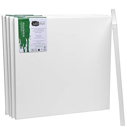 Artina FSC Keilrahmen Akademie 40x40 cm 5er Set - Aus 100% Baumwolle Leinwand Keilrahmen weiß - 280g/m² - verzugsfrei