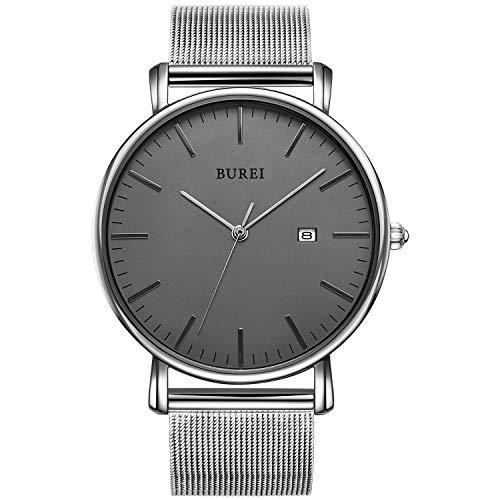 BUREI Herren Uhren Ultra Dünne Schwarze Minimalistische Quartz mit Datumsanzeige und Milanese Armband (Dunkelgraues silberner Hand)