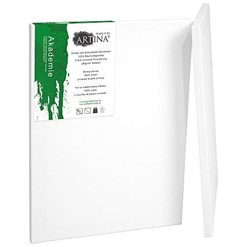 Artina 2er Set - 80x100 cm Leinwand aus 100% Baumwolle auf stabilem Keilrahmen in Akademie Qualität - 280 g/m²