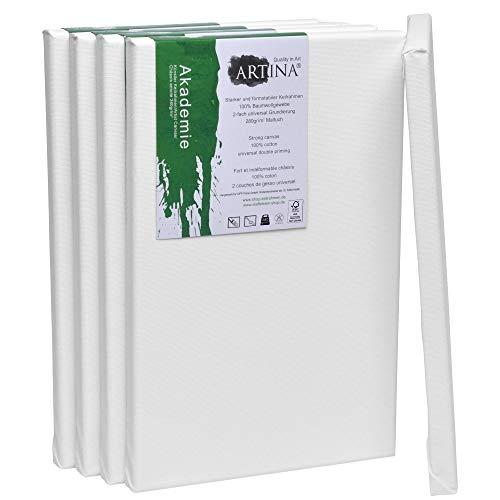Artina FSC Keilrahmen Akademie 20x30 cm 5er Set - Aus 100% Baumwolle Leinwand Keilrahmen weiß - 280g/m² - verzugsfrei