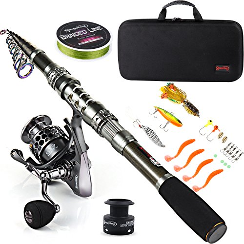 Sougayilang, Teleskopangel / Angelrolle, Kohlefaser-Angelrute / Spinnrollen / Angelzubehör, ideal für Reisen, zum Angeln in Salzwasser und Süßwasser, Fishing Full Kits with Carrier Case, 1.8M/5.91FT