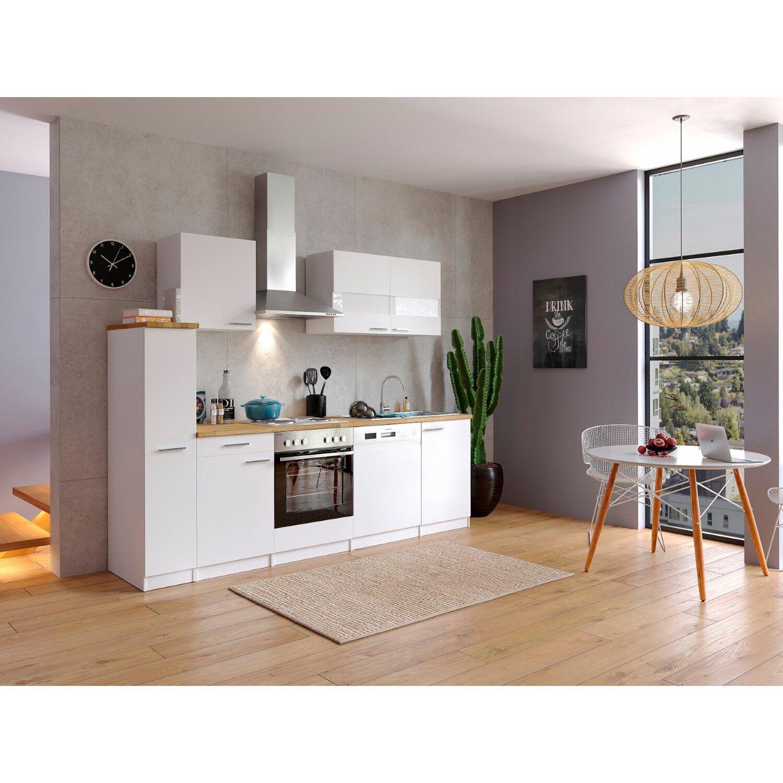 Respekta Küchenzeile KB250WW 250 cm Weiß
