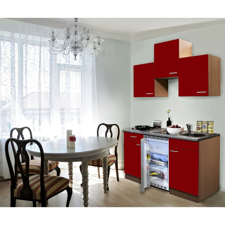 Respekta Küchenzeile 150 cm Rot-Buche