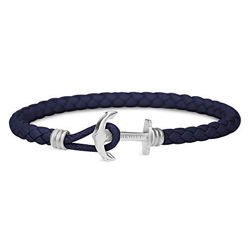 PAUL HEWITT Anker Armband Herren und Damen PHREP Lite - Männer und Frauen Leder Armband (Marineblau), Armband mit Anker Schmuck aus Edelstahl (Silber)