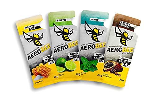 AEROBEE Energy Gel Probierpaket 4 x 26 g   Honey & Salt, Limette, Minze, Kakao & Guarana   100% Natürliche Energie aus Honig für Ausdauersport   Sehr Bekömmlich