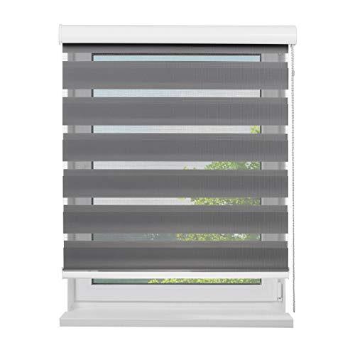 Fensterdecor Doppel-Rollo mit Aluminium-Kassette, Rollo für Fenster mit seitlichem Kettenzug, Seitenzug-Rollo mit Blende in Grau für Innen-Bereich, lichtdurchlässig u. verdunkelnd, 180 x 180 cm