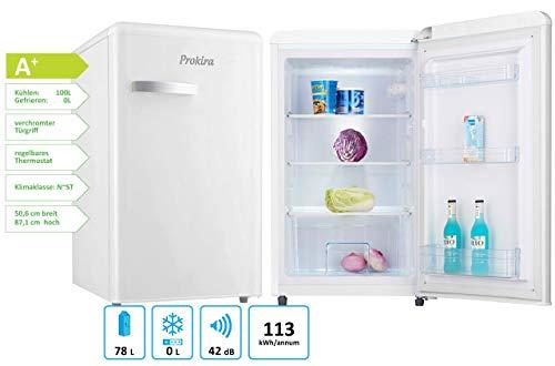 ProKIRA PR105 WE Kühlschrank/Retro PopArt/Standkühlschrank/Höhe 88 cm/A+ / 101 l