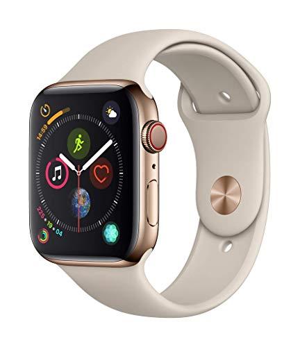 Apple Watch Series 4 GPS + Cellular, 44mm Edelstahlgehäuse, Gold, mit Stone Sportarmband