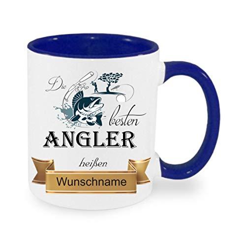 Crealuxe Tasse m. Wunschname Die besten Angler heißen. Wunschname - Kaffeetasse mit Motiv, Bedruckte Tasse mit Sprüchen oder Bildern