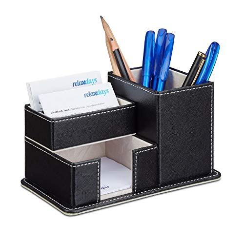 Relaxdays Kunstleder, Schreibtisch Organizer für Stifte, Notizzettel und Büroartikel, Stiftebox, schwarz Stiftehalter, PU-Leder, 10 x 18 x 12 cm