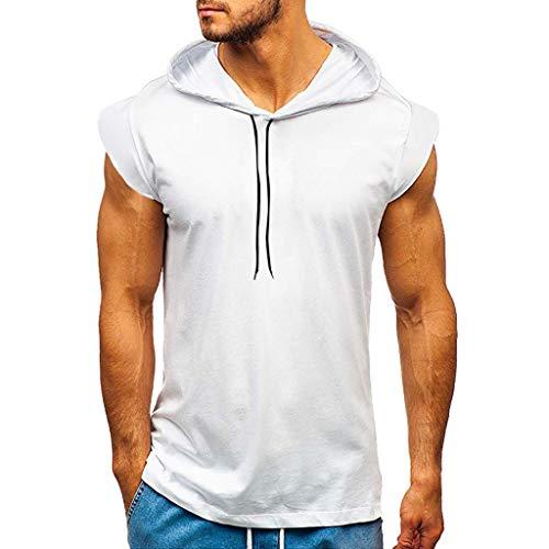Tank Top Herren Weste Gym Muscle Tee Fitness Bodybuilding Ärmellose T-Shirt Muskelshirt Fitness Workout Sport Tasche Hoodie Outdoor Regular Fit Freizeit Tops