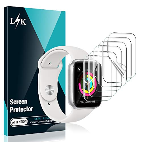 L K 6 Stücke Schutzfolie für Apple Watch 38 mm Series 1/2/3, 40mm Series 5/4 HD klar Flexible TPU Folie [Blasenfreie][Kompatibel mit Hülle][Einfache Installation] Displayschutzfolie