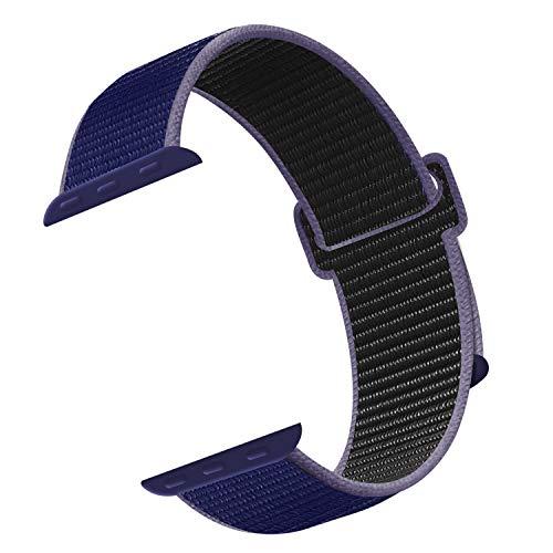 CosyZanx für Apple Watch Armband 38mm 40mm 42mm 44mm,Gewobenes Nylon Sport Schlaufe Handgelenk Uhrband Ersatz Armreif Uhrenarmband für iWatch Apple Watch Series 4 3 2 1 (42/44MM, MidnightBlue)