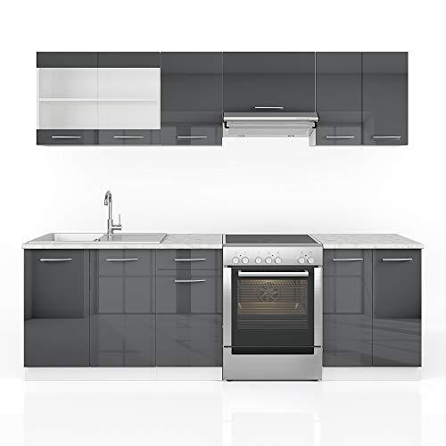Vicco Küche Raul Küchenzeile Küchenblock Einbauküche 240 cm Edelgrau Anthrazit- Frei Kombinierbare Einheiten (Anthrazit Hochglanz)