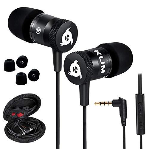 KLIM Fusion Audio Kopfhörer - Langlebig + Innovativ: In-Ear-Kopfhörer mit Memory Foam - Neue 2020 Version - Schwarz