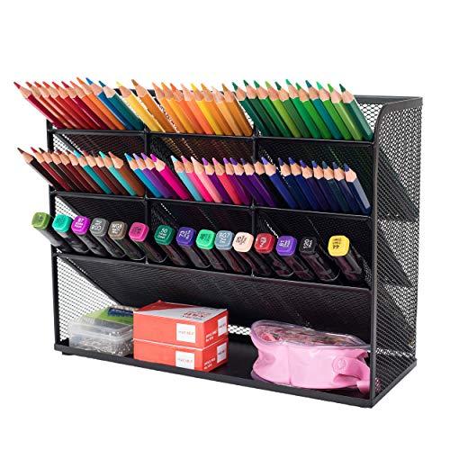 Mesh Desk Organizer Multifunktionale Desktop Schreibwaren Stifthalterbox für das Home Office School Supply Lagerregal (Schwarz)