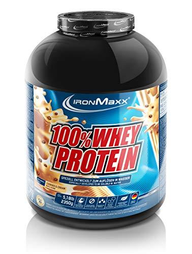 IronMaxx 100 Prozent Whey Protein Pulver Molke wasserlöslich, Geschmack Cookies und Cream, 2,35 kg Dose (1er Pack)
