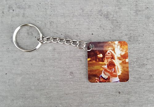 Saphirdesign Schlüsselanhänger aus Metal mit Wunsch-Motiv-Bild-Logo. Geeignet als Werbe-Erinnerungs-Geschenk. Das perfekte individuelle Fotogeschenk. (Quadratisch beidseitig)