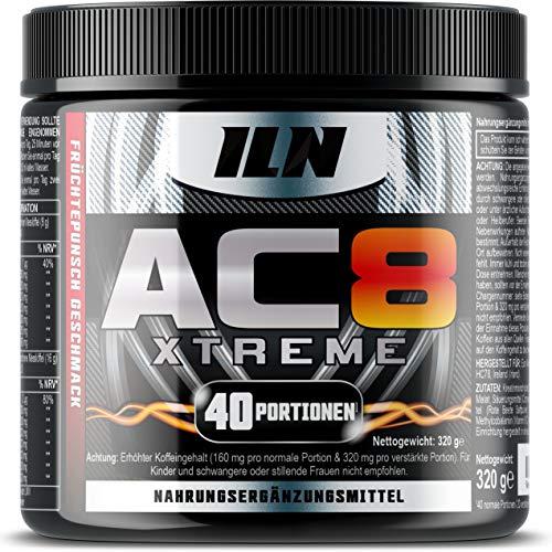 AC8 Xtreme – Pre Workout Booster Mit Kreatin, Beta-Alanin, Taurin Und Koffein - Enthält 40 Reguläre Portionen (320 Gramm) (Frucht-Punsch)