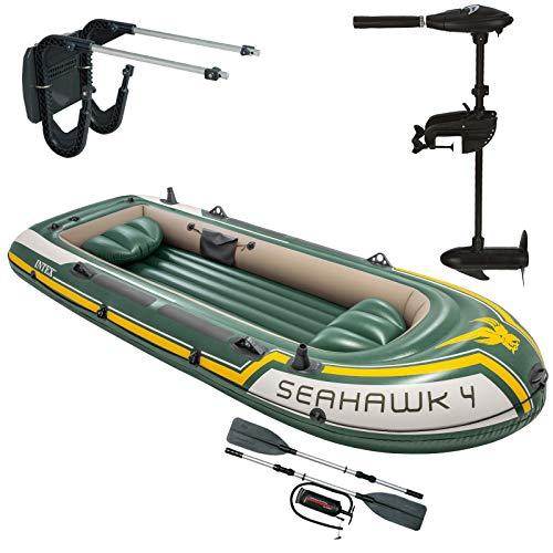 Intex Seahawk 4 Schlauchboot mit Aussenbordmotor + Heckspiegel + Paddel, Pumpe Set für 4 Personen Komplettset