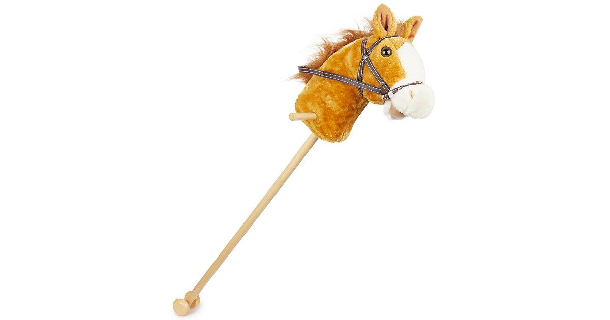 Steckenpferd Brownie ca. 100 cm Stockpferd Pferd Kopf Holz Stiel Kuschel- Pferd Steckenpferde braun