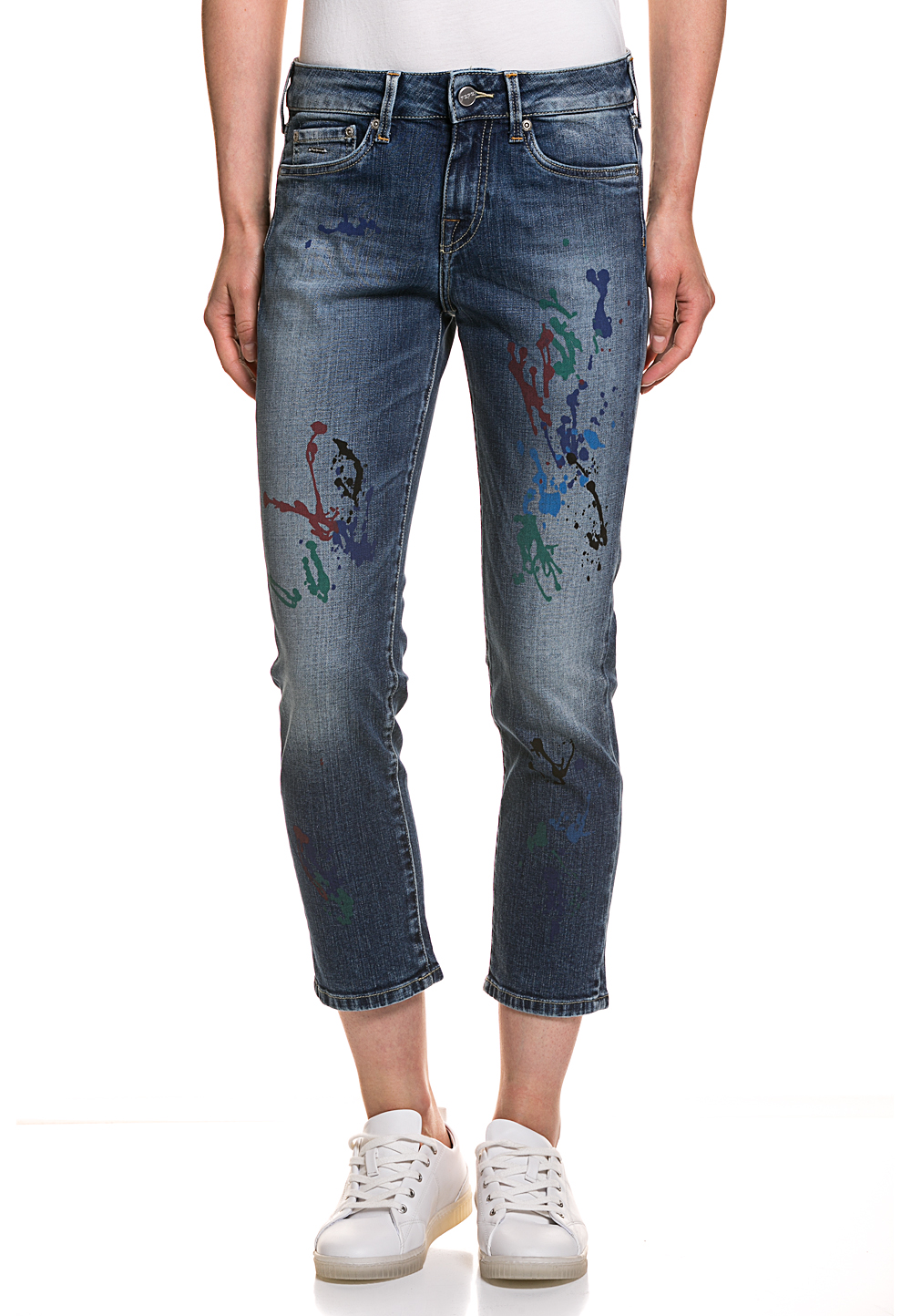 Pepe Jeans Stretch-Jeans Jolie Paint, Boyfriend Straight Fit blau