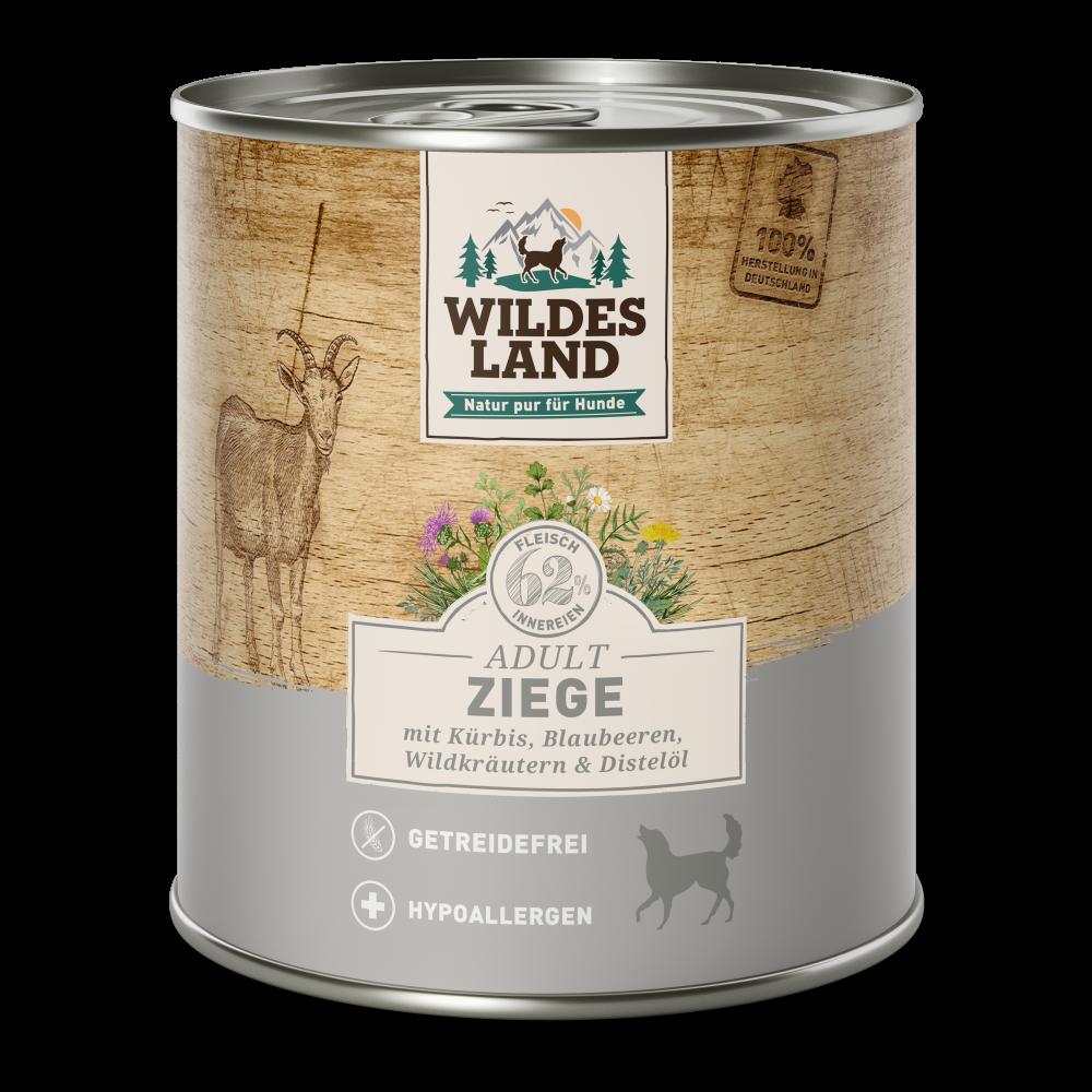 24 x 800 g   Wildes Land   Ziege mit Kürbis, Blaubeeren, Wildkräutern und Distelöl Classic Adult   Nassfutter   Hund