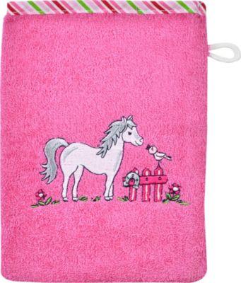 Wörner Kinder-Waschhandschuh 'Pferd' Frottier Pferd orchidee pink Gr. 15 x 20