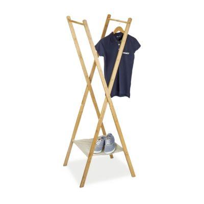 relaxdays Bambus Kleider- & Handtuchständer, klappbar beige